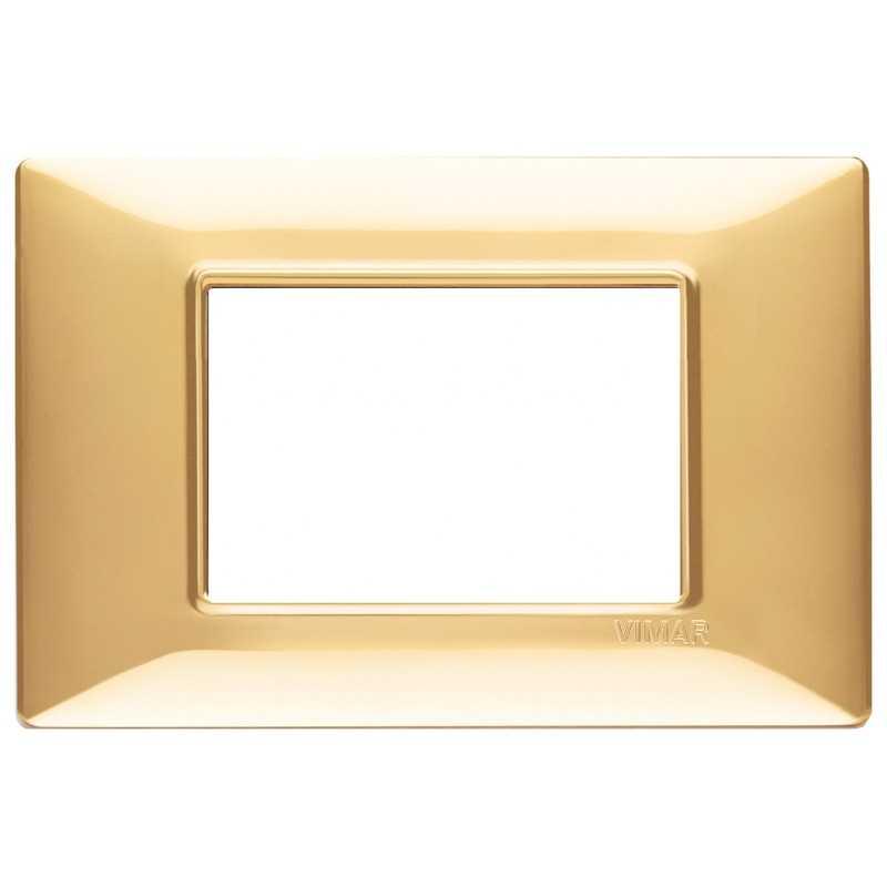 Placca Vimar Plana 3 moduli oro lucido in tecnopolimero 14653.24