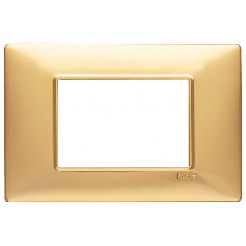 Placca Vimar Plana 3 moduli oro opaco in tecnopolimero codice 14653.25