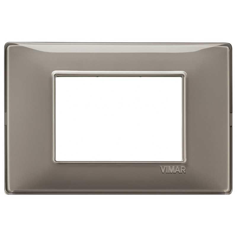 Placca Vimar Plana 3 moduli Reflex cenere in tecnopolimero 14653.40