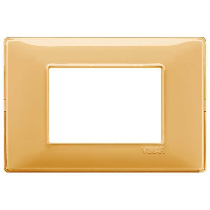 Placca Vimar Plana 3 moduli Reflex ambra in tecnopolimero 14653.43