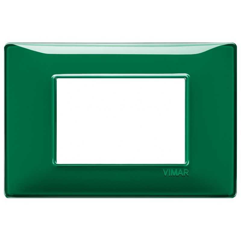 Placca Vimar Plana 3 moduli Reflex smeraldo in tecnopolimero 14653.47