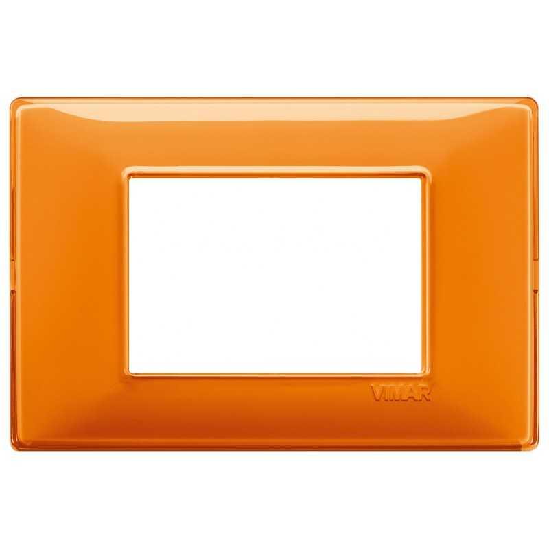 Placca Vimar Plana 3 moduli Reflex arancio in tecnopolimero 14653.48