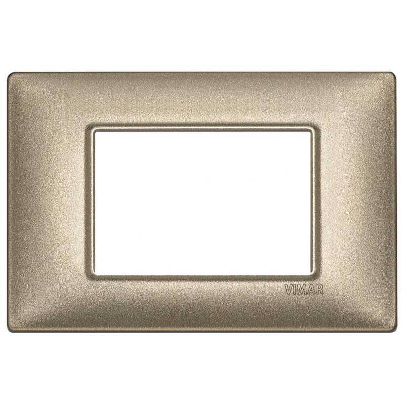 Placca Vimar Plana 3 moduli metallo bronzo metallizzato 14653.70