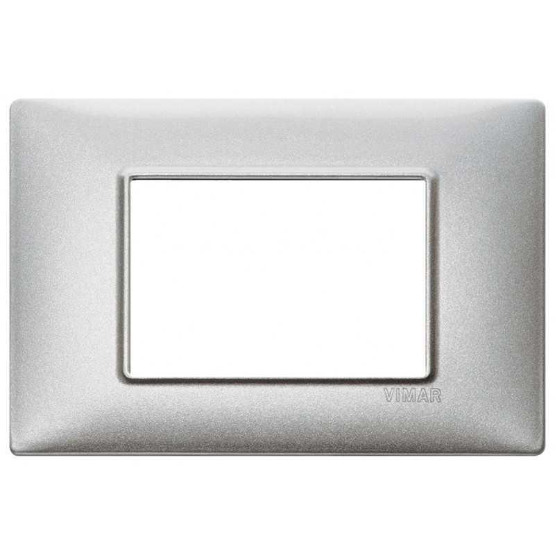 Placca Vimar Plana 3 moduli metallo argento metallizzato 14653.71