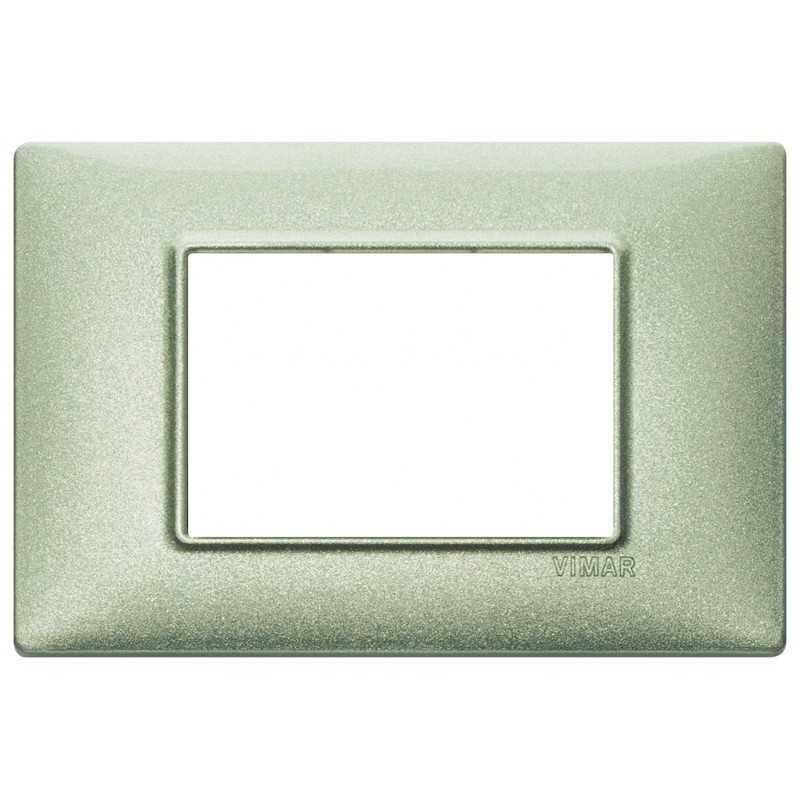 Placca Vimar Plana 3 moduli metallo verde metallizzato codice 14653.72