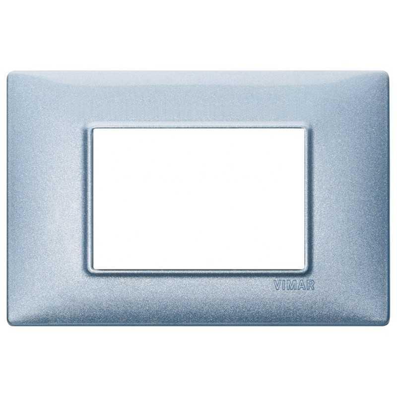 Placca Vimar Plana 3 moduli metallo blu metallizzato codice 14653.73