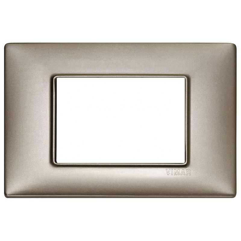 Placca Vimar Plana 3 moduli metallo nichel perlato codice 14653.74