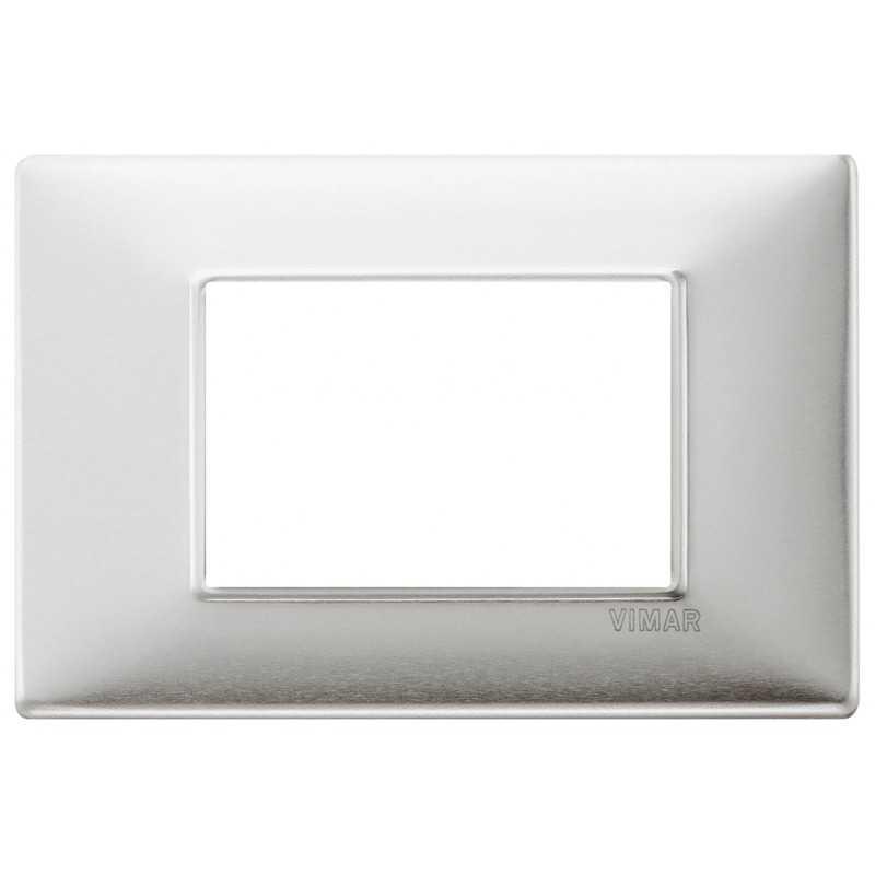 Placca Vimar Plana 3 moduli metallo alluminio spazzolato 14653.81