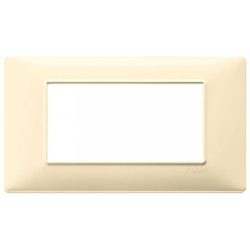 Placca Vimar Plana 4 moduli colore crema in tecnopolimero 14654.04