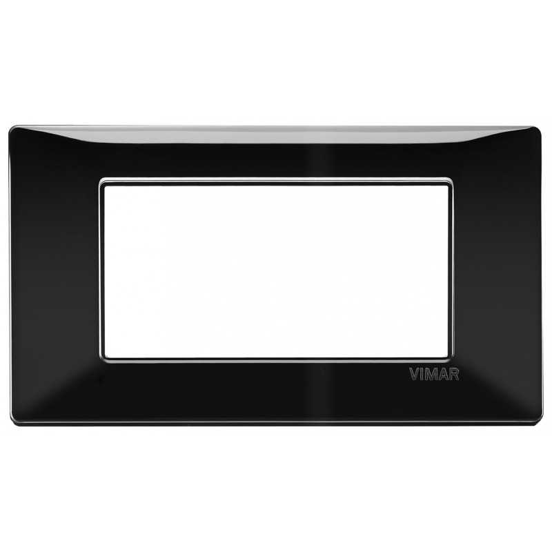 Placca Vimar Plana 4 moduli colore nero in tecnopolimero 14654.05