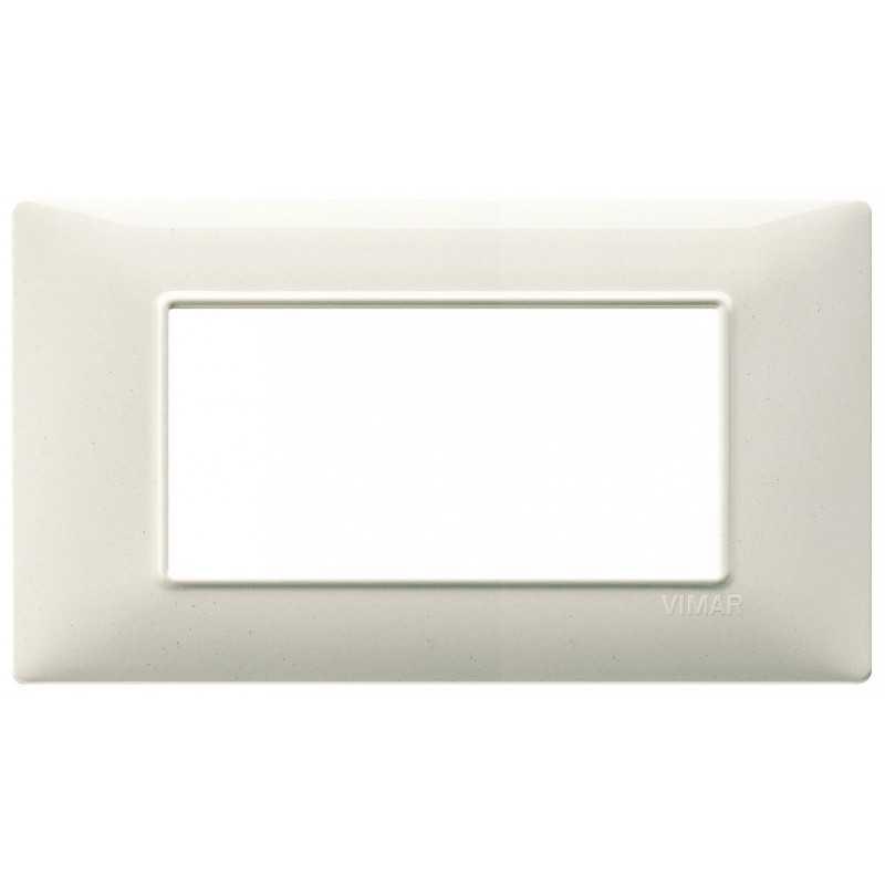 Placca Vimar Plana 4 moduli bianco granito in tecnopolimero 14654.06
