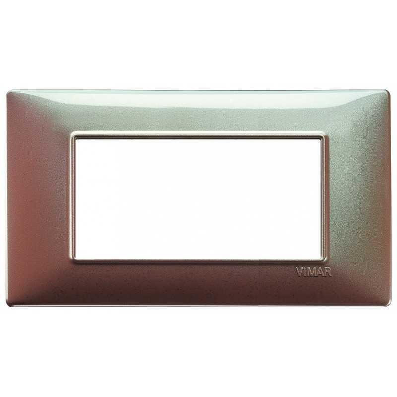 Placca Vimar Plana 4 moduli colore marrone micalizzato 14654.23