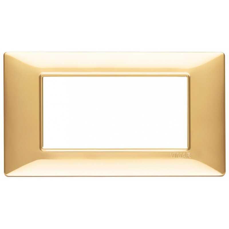 Placca Vimar Plana 4 moduli oro lucido in tecnopolimero 14654.24