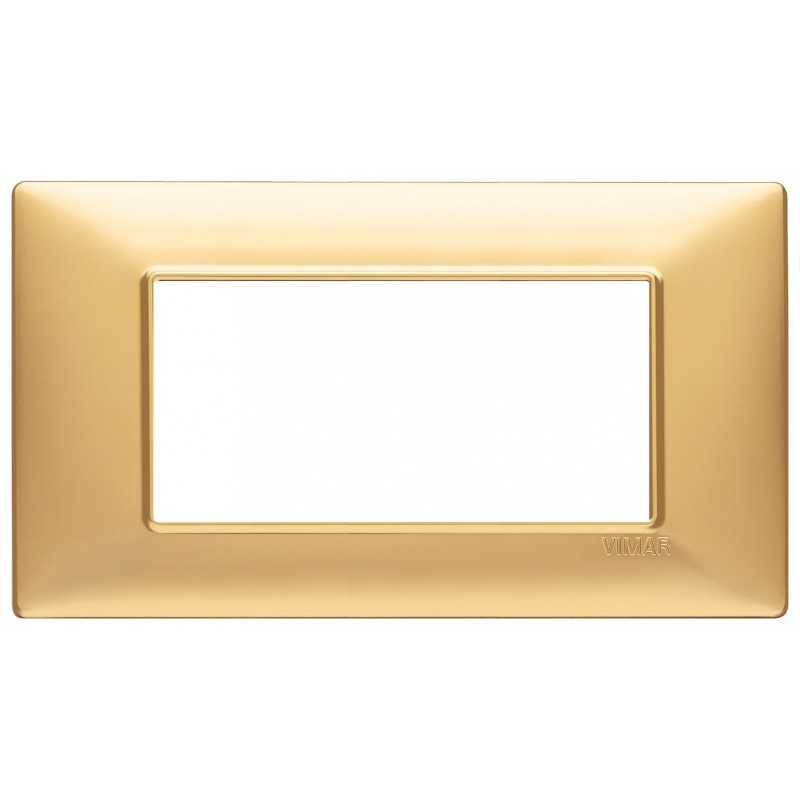 Placca Vimar Plana 4 moduli colore oro opaco in tecnopolimero 14654.25