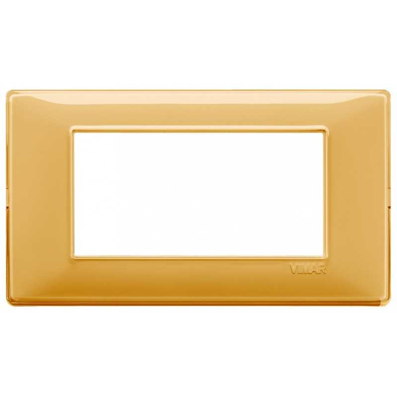 Placca Vimar Plana 4 moduli Reflex ambra in tecnopolimero 14654.43