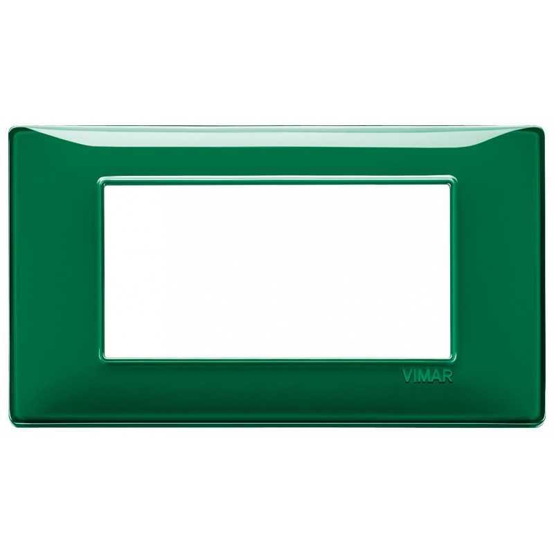 Placca Vimar Plana 4 moduli Reflex smeraldo in tecnopolimero 14654.47
