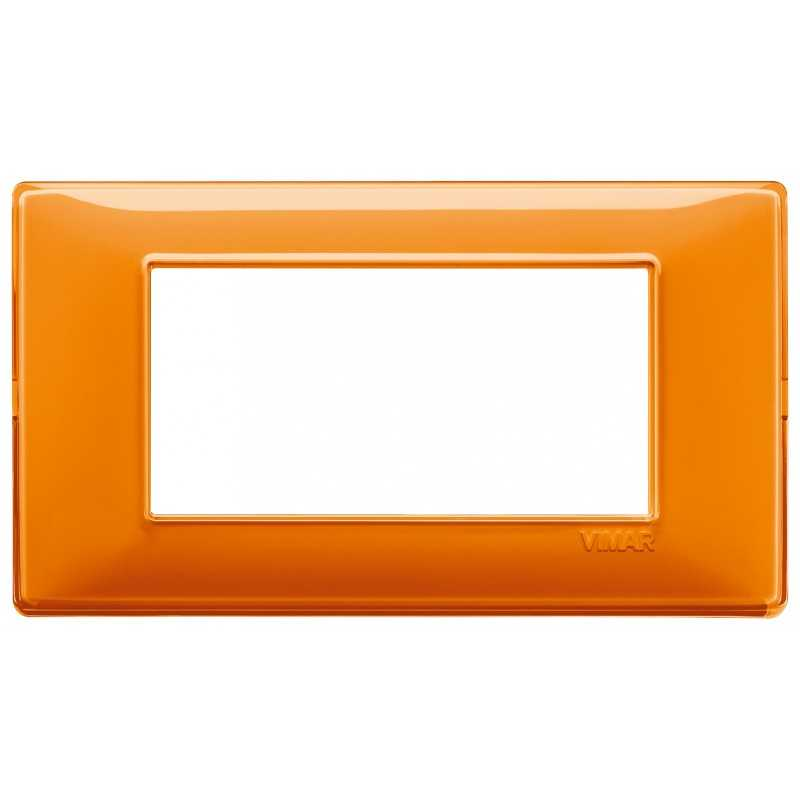 Placca Vimar Plana 4 moduli Reflex arancio in tecnopolimero 14654.48