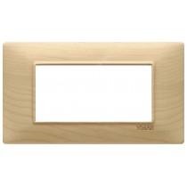 Placca Vimar Plana 4 moduli acero legno naturale 14654.61