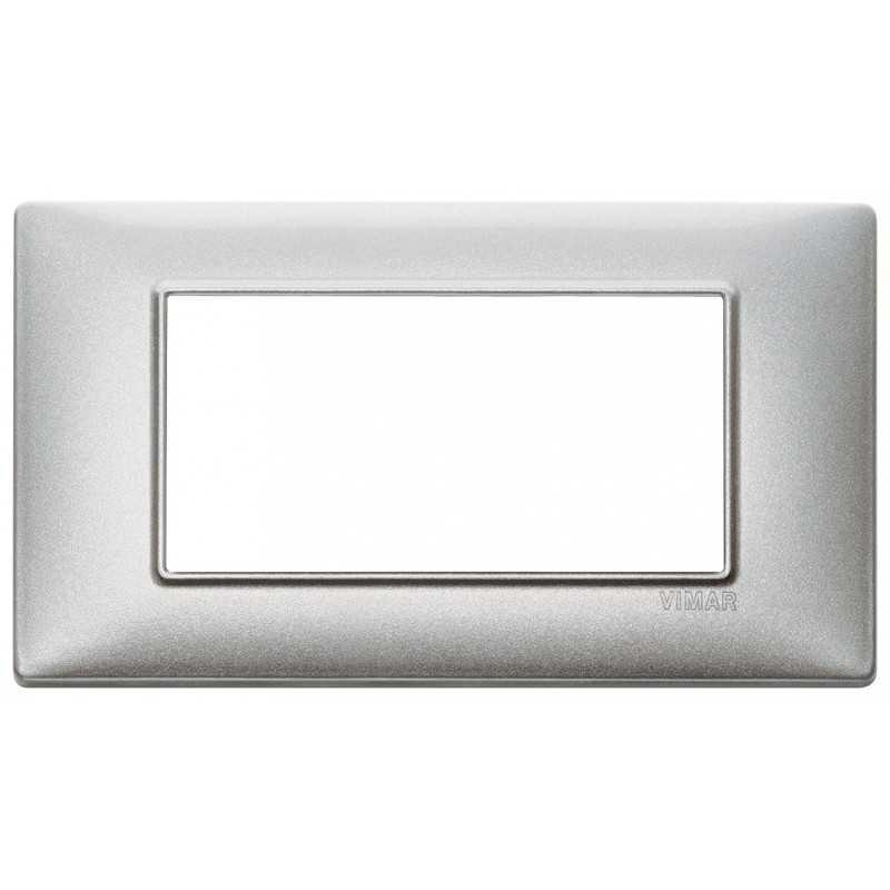 Placca 4 moduli argento metallizzato Vimar Plana 14654.71