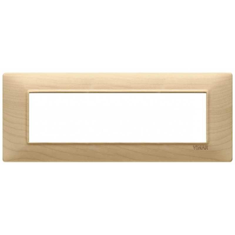 Placca Vimar Plana 7 moduli acero in legno naturale 14657.61