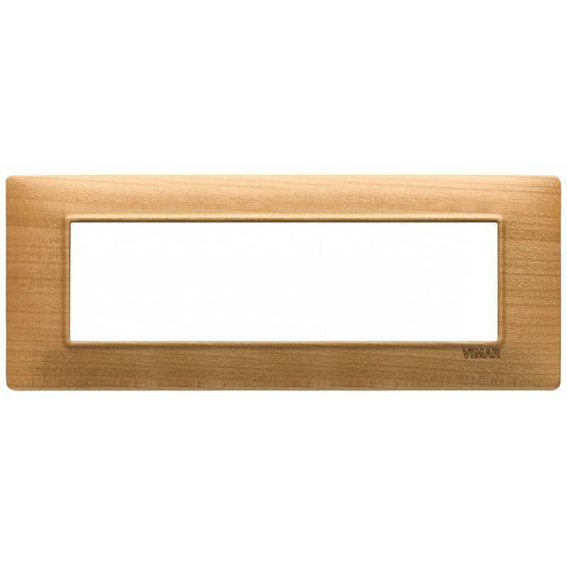 Placca Vimar Plana 7 moduli ciliegio in legno naturale 14657.63
