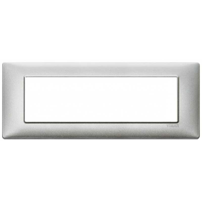 Placca Vimar Plana 7 moduli argento metallizzato in metallo 14657.71
