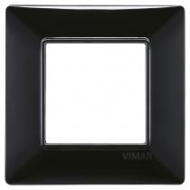 Placca Vimar Plana 2 moduli nero in tecnopolimero 14642.05