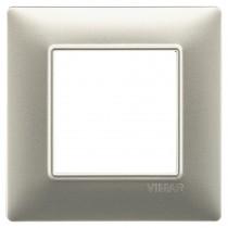 Placca Vimar Plana 2 moduli Nichel Opaco in tecnopolimero 14642.21