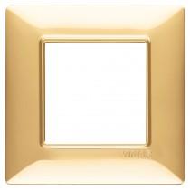 Placca Vimar Plana 2 moduli oro lucido in tecnopolimero 14642.24