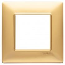 Placca Vimar Plana 2 moduli oro opaco in tecnopolimero 14642.25