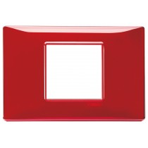 Placca Vimar Plana 2 posti centrali reflex rubino 14652.51