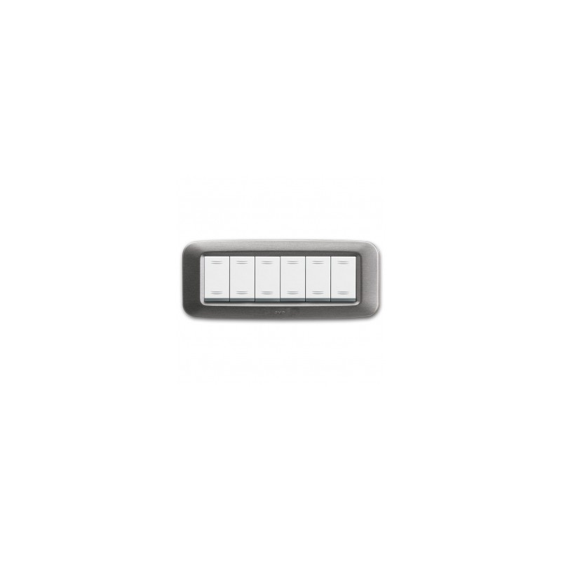 Placca AVE Argento satinato 6 moduli Yes 45 45PY06AS