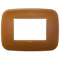 Placca Vimar Arkè Round 3 moduli Reflex colore caramel 19683.62