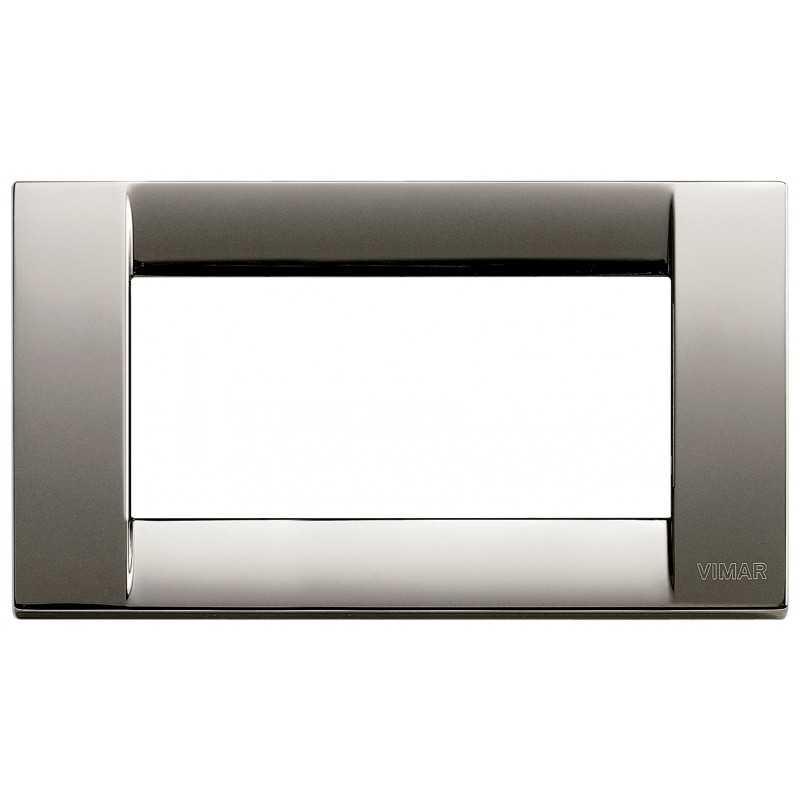 Placca Vimar Idea Classica 4 Moduli cromo nero metallo 16734.31