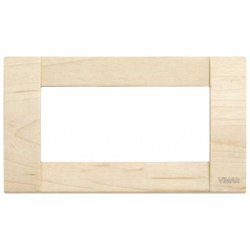Placca Vimar Idea Classica 4 Moduli acero legno naturale 16734.51