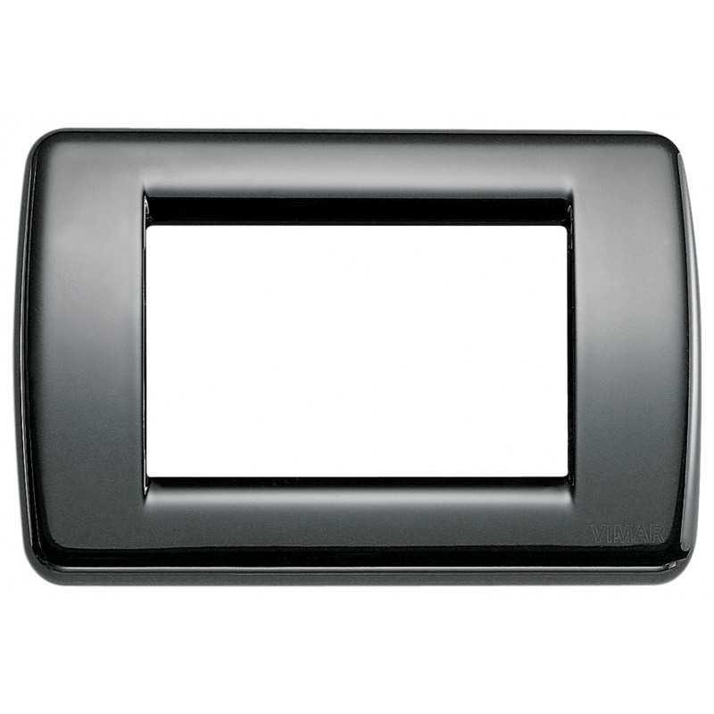 Placca Vimar Idea Rondo' 3 Moduli  nero in metallo 16753.11