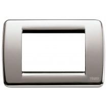 Placca Vimar Idea Rondo' 3 Moduli nichel spazzolato 16753.34