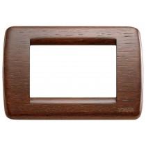 Placca Vimar Idea Rondo' 3 Moduli noce legno naturale 16753.55