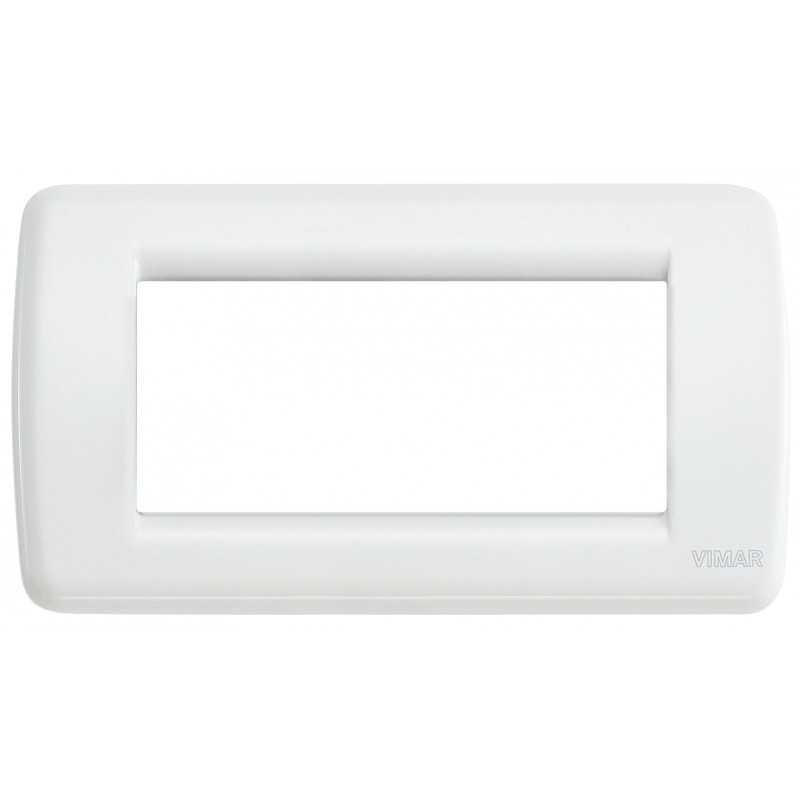 Placca Vimar Idea Rondo' 4 Moduli bianco in metallo 16754.01
