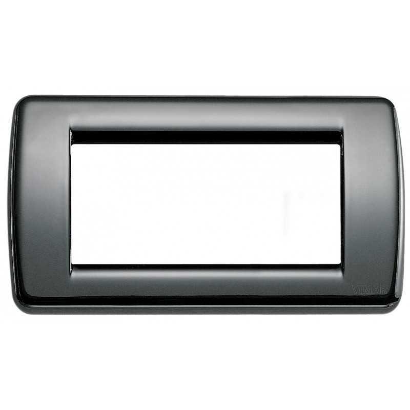 Placca Vimar Idea Rondo' 4 Moduli nero in metallo 16754.11