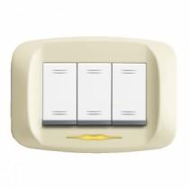 Placca AVE Bianco Blanc (RAL 1013) 3 moduli Banquise 45 45PB93BP