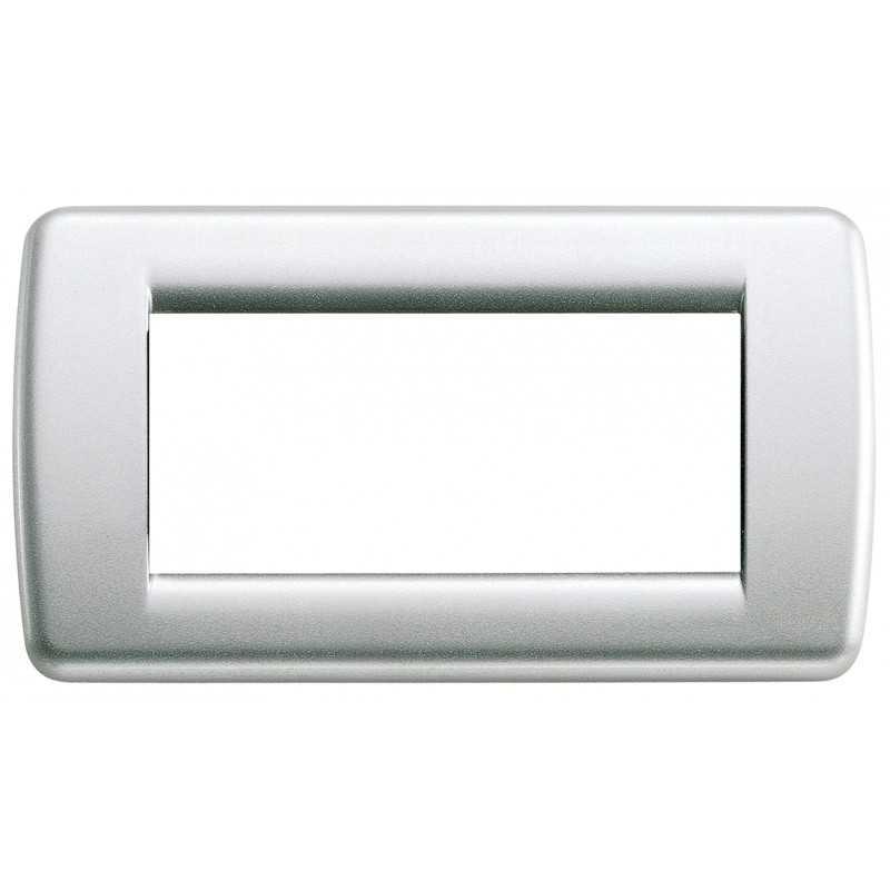 Placca Vimar Idea Rondo' 4 Moduli argento metallizzato 16754.21