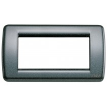 Placca Vimar Idea Rondo' 4 Moduli antracite metallizzato 16754.23