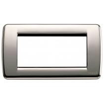 Placca Vimar Idea Rondo' 4 Moduli cromo nero metallo 16754.31