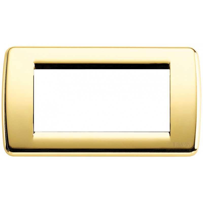 Placca Vimar Idea Rondo' 4 Moduli oro lucido metallo 16754.32