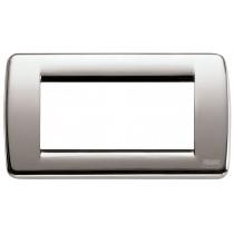 Placca Vimar Idea Rondo' 4 Moduli nichel spazzolato 16754.34