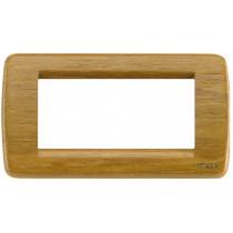 Placca Vimar Idea Rondo' 4 Moduli teak legno naturale 16754.57