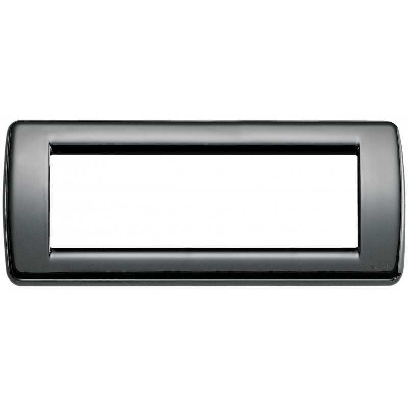 Placca Vimar IdeaRondo' 6 Moduli nero in metallo codice 16756.11
