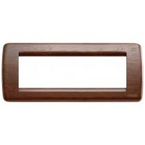 Placca Vimar Idea Rondo' 6 Moduli noce legno naturale 16756.55
