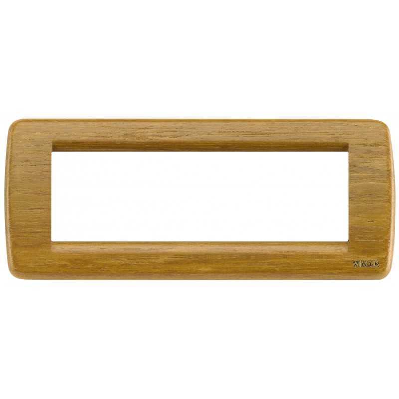 Placca Vimar Idea Rondo' 6 Moduli teak legno naturale 16756.57